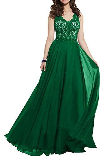 Milano Bride Elegant Royal Blau Abendkleider Partykleider Promkleider Cocktailkleider Bodenlang mit Spitze Grün