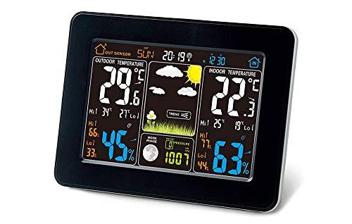 DAN&DLAM Drahtlose Atom-Wetterstation mit Temperaturalarmen mit drahtlosem Innen Außensensor Farbdisplay Wetterstation Wecker