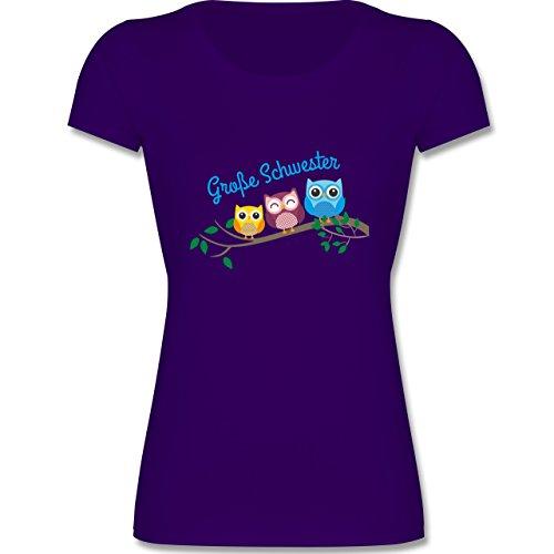 Geschwisterliebe Kind – Große Schwester Süße Eulen – 164 (14-15 Jahre) – Lila – F288K – Mädchen T-Shirt