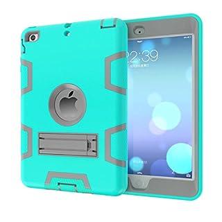 iPad Mini 3 2 1 Hülle,Allbuymall Drei-Schichten-Schutz Outdoor Außenbenutzung 3in1 Stoßfest Schutzhülle Case Cover für Apple iPad Mini 3 / 2 und 1 Generation 7.9 Zoll-(Mintgrün+Grau)