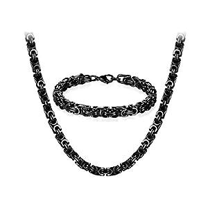 JewelryWe Schmuck Edelstahl Ketten Set von Halsketten und Armketten für Herren schwarzen Armbändern 8mm breit und 21,5 cm für Armband, 22/24/26 Zoll für Halskette