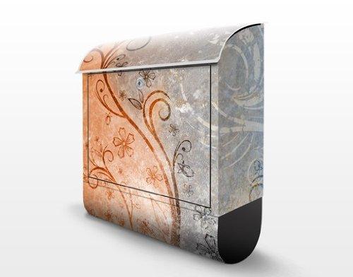 Design Briefkasten Dignity   Ranken Schnörkel Blüten Blumen Bunt, Postkasten mit Zeitungsrolle, Wandbriefkasten, Mailbox, Letterbox, Briefkastenanlage, Dekorfolie - 3