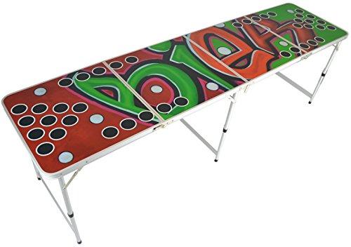 Beer Pong Tisch - premium Graffiti-Design - Beer pong table - 244x74x6 cm - Bier Pong Tisch - zusammenklappbar - reisetauglich (Bier Ping-pong-tisch)