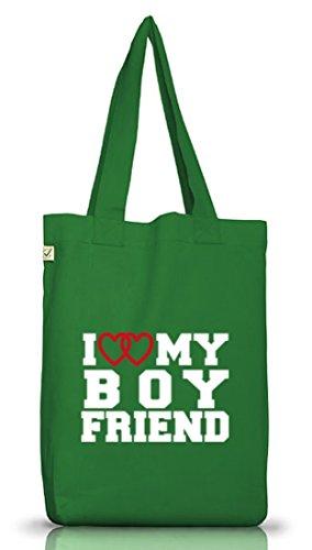 Shirtstreet24, I LOVE MY BOYFRIEND 4, Valentinstag Jutebeutel Stoff Tasche Earth Positive (ONE SIZE) Moss Green