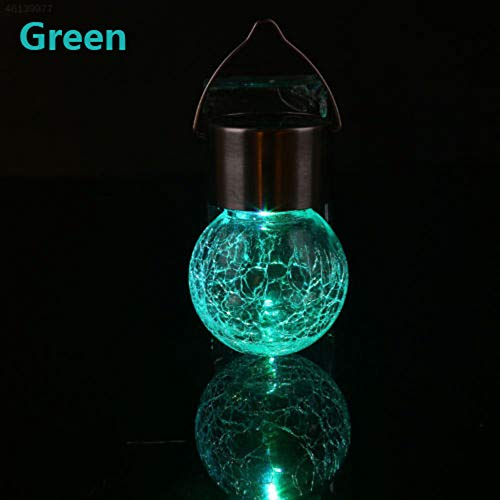 Gaddrt 3 Colour Changing Solar Cracked Glass Globe Lights, 9x6cm Mosaic Crackle Globes LED Garden Night Light with Hanging Hooks (Green)
