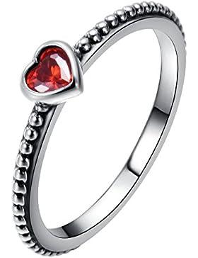 Damen Ringe Mädchen Rubin Herz 925 Sterling Silber Rot Kristall Zirkonia Solitärring Ringgröße 56(17.8) von Changeable