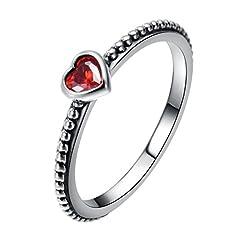 Idea Regalo - CHANGEABLE Anelli da Donna Argento Sterling 925 Misura anello 16 (cuore del nastro con il rosso rubino)