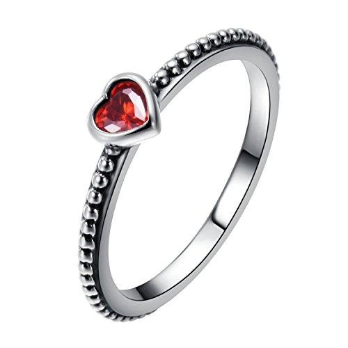 Changeable anelli da donna argento sterling 925 misura anello 12 (cuore del nastro con il rosso rubino)