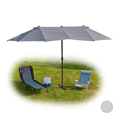Relaxdays Doppelsonnenschirm, ovaler Sonnenschirm für Garten & Terrasse, mit Kurbel & Ständer, HBT 255x450x260cm, grau