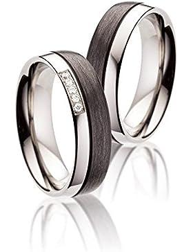CORE by Schumann Design Trauringe Eheringe aus Titan & Carbon Kombination Bicolor mit echten Diamanten GRATIS...