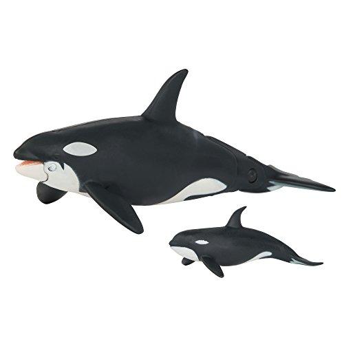 TOMY ANIA |  Schwertwal mit Babys 2er Set | Spielfiguren mit beweglichen Elementen | Hochwertiges Spielzeug für Kinder ab 3 Jahre | Tiere Spielzeug | Lernspielzeug - ideal als Geschenk
