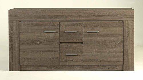 Anbauwand in Sonoma Eiche Dunkel-Nachbildung, bestehend aus: 2 Vitrinen, Sideboard, Wandbord, Gesamtmaße: B/H/T ca. 345/200/40 cm - 3