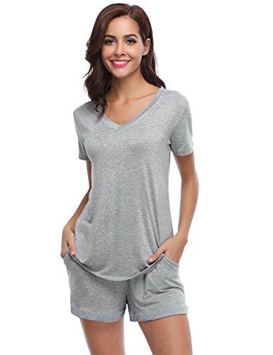 Aibrou Damen Pyjama Schlafanzug Baumwolle Kurz Nachtwäsche Nachthemd Hausanzug Kurzarm V Ausschnitt für Sommer Grau XL