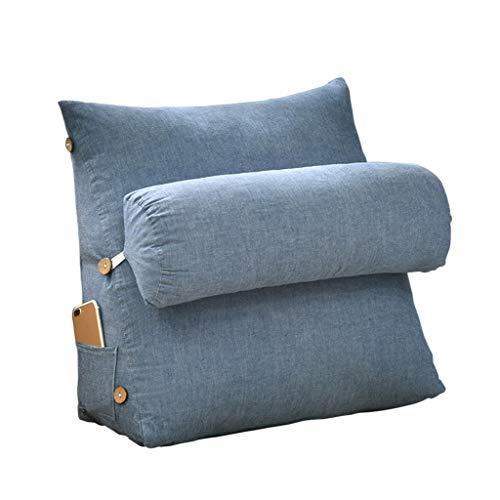 DUHUI Rückenstütze Kissen Keil Kissen Dreieck Kissen Rückenlehne Kissen Sofa Bett Bürostuhl Rest Kissen Dekokissen (Farbe : Blau, größe : 60x50x22cm)