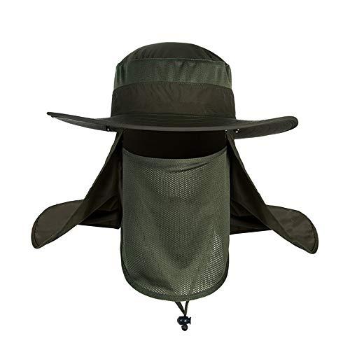 GZQ Sun Cap UV-Schutz Bucket Hat Breiter Hutrand Abnehmbarer Bezug mit Nacken und Gesicht Lasche für Outdoor Angeln Camping Radfahren Jagd Golf Wandern Garten, grün (Schild Mütze Mesh-gesicht)