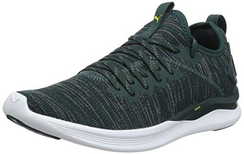 Puma Herren Ignite Flash Evoknit Laufschuhe, Grün (Ponderosa Pine Black-Blazing Yellow), 42.5 EU