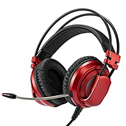 snfgoij Gaming Headset Ps4 With Mic Stereo Headband Comfortable Computer 7.1 Desktop E-sports Jedi Survival,Red-OneSize