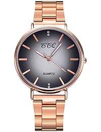 Reloj de pulsera para mujer, de cuarzo, con correa de acero inoxidable, con