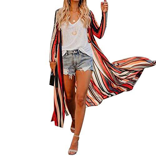 Vertvie Damen Chiffon Kimono Sommer Leicht Tuch Lange Cardigan Mit Blumen Muster Bikini Cover Up (XL, Streifen)