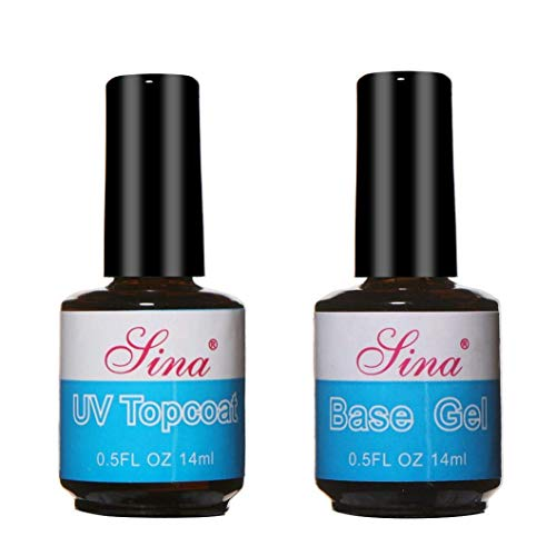 TINGSU 2 Stück Überlack + Unterlack UV Diamant Nagelgel Grundierung Nail Art – 14 ml
