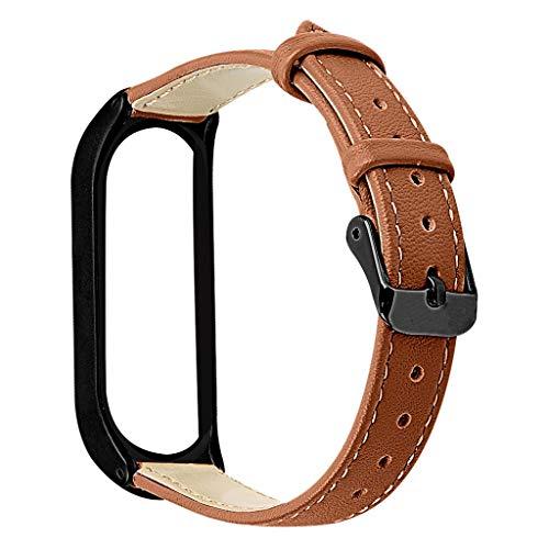 Feinny Austauschbares Lederband mit Handschlaufe + Metallschutzrahmen, kompatibel mit XiaoMi4 Smart-Armband, Handgelenkumfang: 170-220mm(Schwarzer Rahmen)