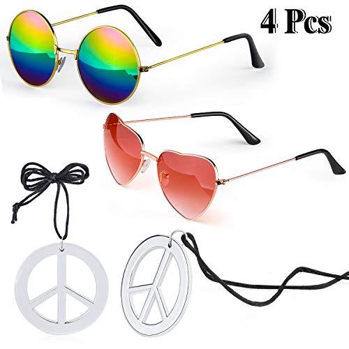 Kostüm Zwei Stück - Beefunny Hippie Kostüm Zubehör Set 2 Stück Hippie Sonnenbrille Brille und 2 Stück Peace Sign Halskette (C)