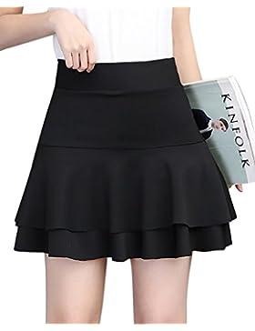 Falda Elástica Plisada Básica Cintura Alta Ajuste Delgado Minifalda Falda con Volantes Corto
