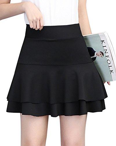 Falda Elástica Plisada Básica Cintura Alta Ajuste