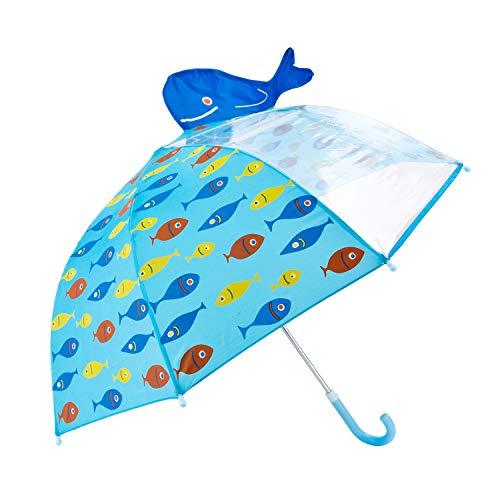 Paraguas para Niños, Hibbent Paraguas con Transparente Ventana Antiviento-Azul Pez