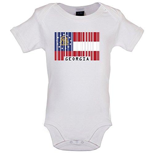 Georgien 12 (Dressdown Georgia/Georgien Barcode Flagge - Lustiger Baby-Body - Weiß - 12 bis 18 Monate)