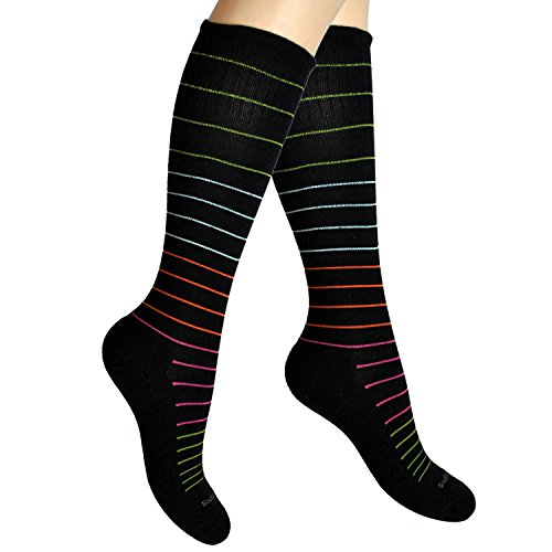 Cotton Compression Socks for Women. Graduated Stockings for Travel, Flying, Pregnancy, Nurses, Maternity, Varicose Veins, Calf Support. 15-20 mmHg Ladies Circulation Hose. Knee High 1 Pair