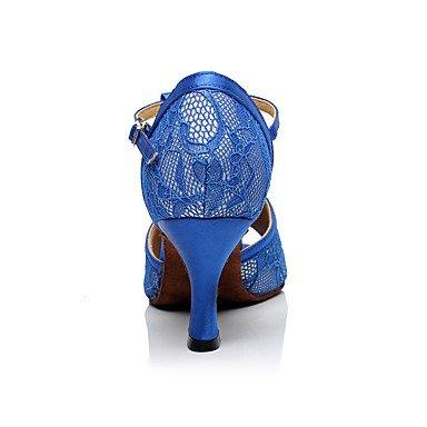 Scarpe da ballo-Non personalizzabile-Da donna-Balli latino-americani-A stiletto-Di pizzo-Blu Royal Blue