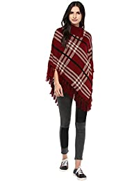 Cayman Women Maroon Patterned Poncho Sweater