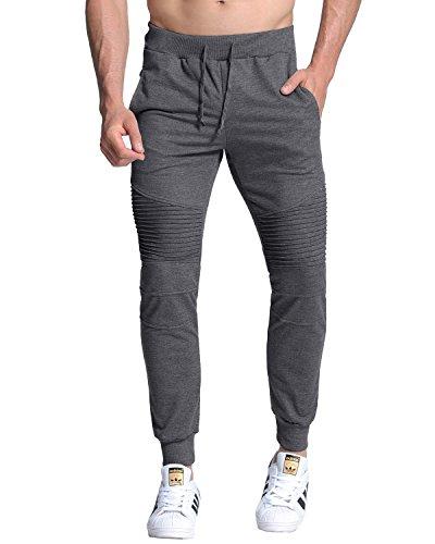 MODCHOK Homme Pantalon Jogging Sarouel Survêtement Sweat Pants Sport Longue Slim Fit Gris foncé 1 L