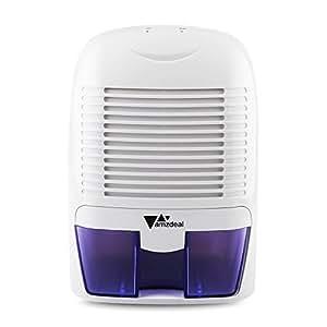Amzdeal Déshumidificateur Electrique avec 1500ML Réservoir d'eau pour Éliminer Humidité, Mini Déshumidificateur d'Air pour Cuisine, Chambre, Salles de Bains, Toilettes, Cabinet - Blanc