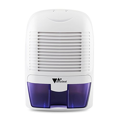 Amzdeal Deumidificatore elettrico portabile con 1500ml Serbatoio d'acqua - Deumidificatore d'aria per eliminare l'umidità da camera da letto, bagno, armadio, 700ml/Giorno