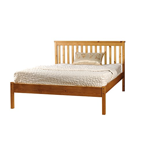 Comfy Living 5ft King Low End Solid Wooden Medina Bed Frame in Caramel