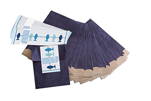 """25 kleine blaue Geschenktüten; Papiertüten (9,5 x 14 cm) mit beschreibbarem Aufkleber""""3 blaue Fische""""; für Taufe, Kommunion, Konfirmation, Hochzeit uvm."""