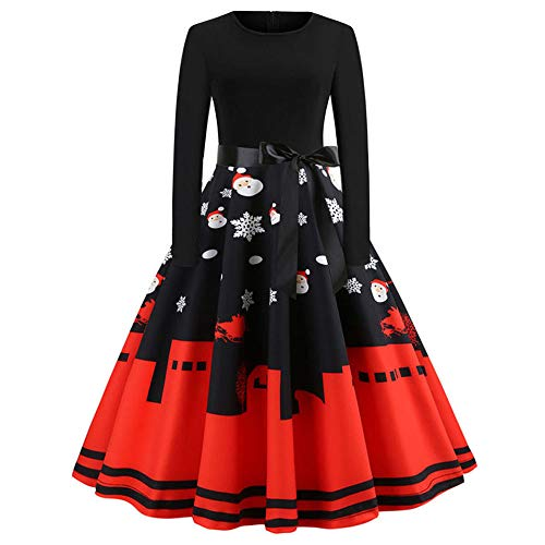 Weihnachten Kleider Damen UFODB Frauen Weihnachtskleid Kleid Swing Taille Slim Cocktailkleid Retro Schwingen Party Partykleid Festlich Christmas ()