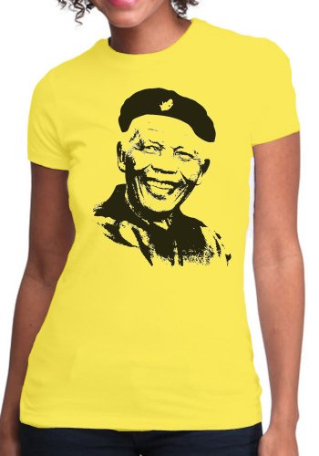 OM3 - CHE-MANDELA-REVOLUTION - Damen T-Shirt Cuba Che Guevara Nelson Madiba RIP Süd Afrika Peace Freedom, S - XXL Gelb