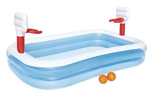 Bestway 54122 -Piscina Hinchable para niños con Canastas Baloncesto, 254 x 168 x 102 cm, incluye 2 pelotas hinchables