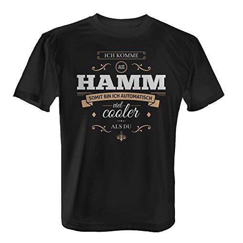 Fashionalarm Herren T-Shirt - Ich komme aus Hamm somit bin ich viel cooler als du   Fun Shirt mit Spruch als Geschenk Idee für stolze Hammenser Schwarz