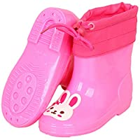 LYXFZW,Rain Boots For Kids,girls,Rubber Wellington Boots Soft Warm Lining Watershoes Waterproof Non-Slip Children Boys Easy Wipe Outdoor Pink Rabbit Cute For School Removable Garden Fashion Cartoon