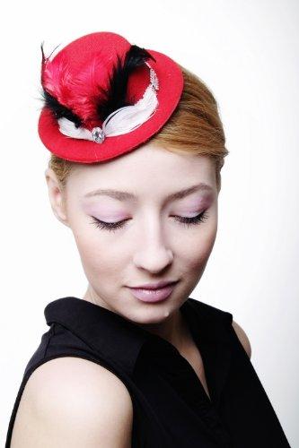 Rot, Hut Schwarz, Weiß, (DRESS ME UP – Fascinator Miniatur Hut Mini Zylinder rot hellrot Damen Burlesque weiße & schwarze Federn Tüll Hutband H39 Gothic Lolita)