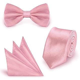 StickandShine SET Krawatte Fliege Einstecktuch Rosa einfarbig uni aus Polyester