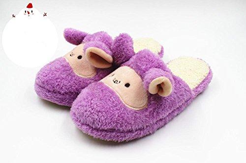 DMMSS Automne Et Hiver Coton Pantoufles Pantoufles Chaussures À La Maison Couples Pantoufles De Laine Purple