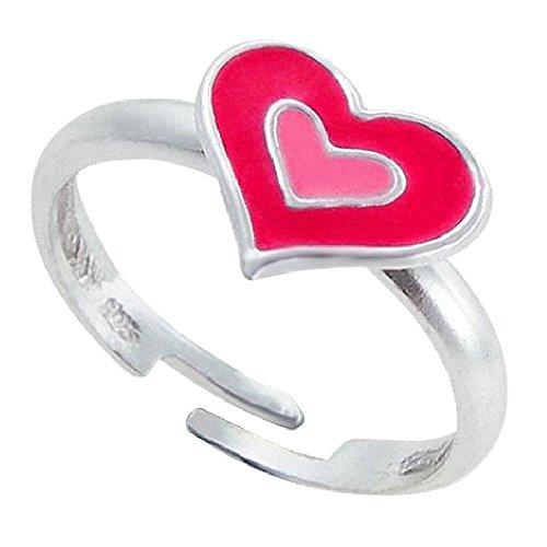 So Chic Schmuck - Rosa Herz verstellbar Kid Ring Sterling Silber 925 (Mädchen Rosa Ring)