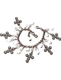 Dolce&Gabbana - DJ0253 - Bracelet Breloques Femme Acier - Croix Strass et perles Blanches
