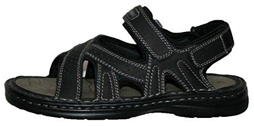 Dessus en cuir pour homme à enfiler velro Bar Sangles Sport Sandales Noir