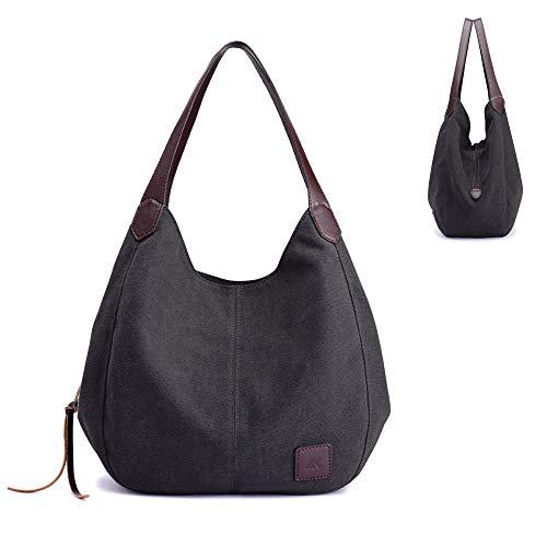 Borse a mano tela borse a spalla, uraqt tela colore solido borsetta, donna borse a spalla multifunzione in tela borsa a tracolla daypack grandi per shopping viaggio